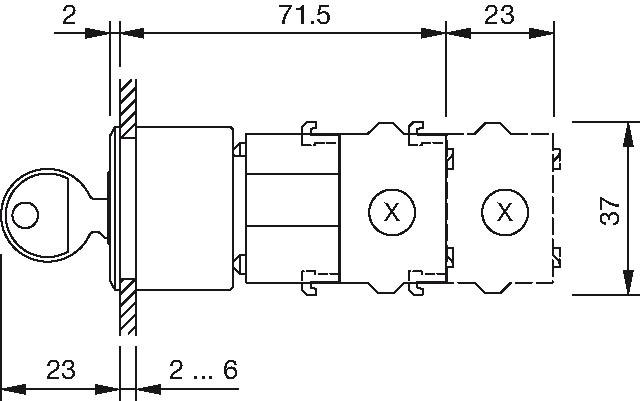 EAO 704.121.018 Switch; Keylock; Flush Mount; 2 Position
